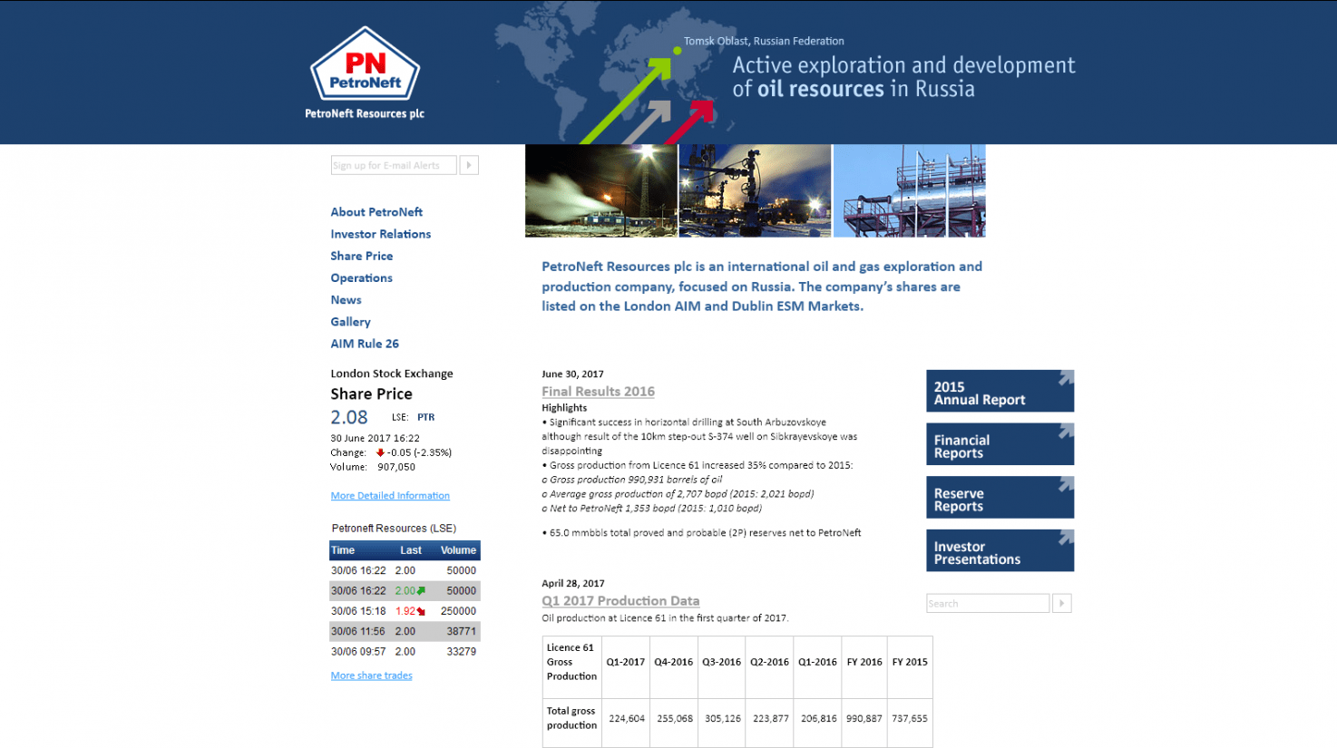 Projects's homepage big screenshot «PetroNeft Resources Plc»